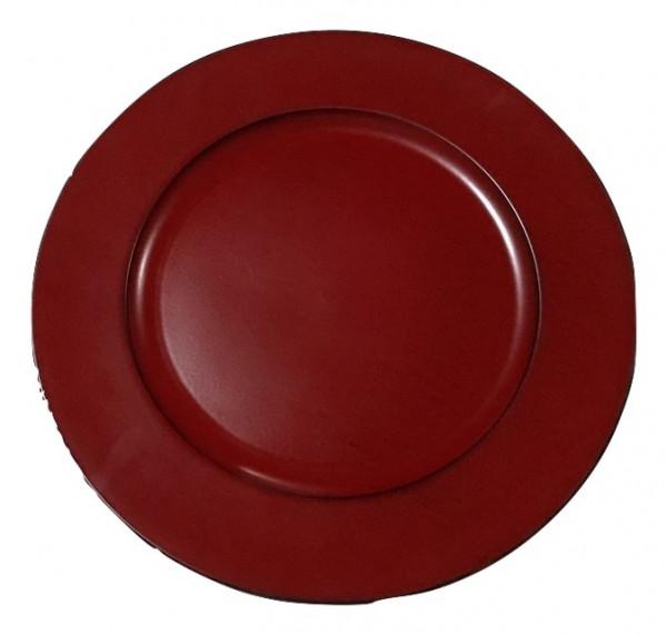 Melamine Plate Round Matt Red W/Black Wash D33