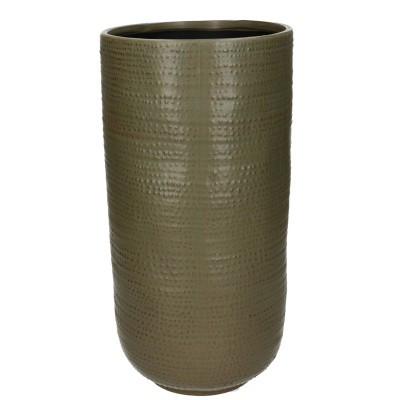 Ceramic Vase Alezio Round Rustique Green D14H29