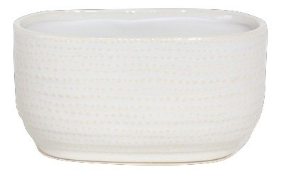 Keramik Pflanzer Vieste Oval Weiss L25W13,5H12,5