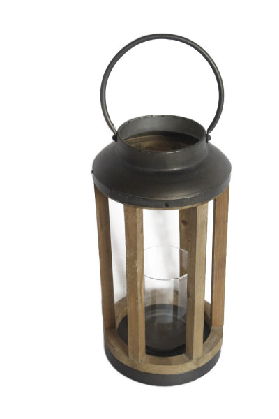 Wood Lantern With Iron Cover Round D20,5H55
