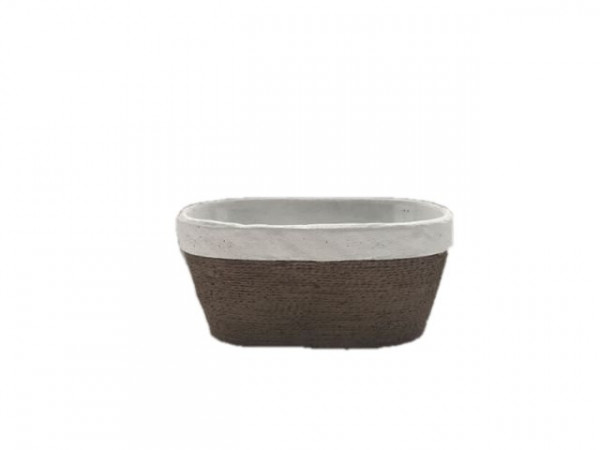 Cement Planter Oval Cembra White/Rope L23,5W14H11