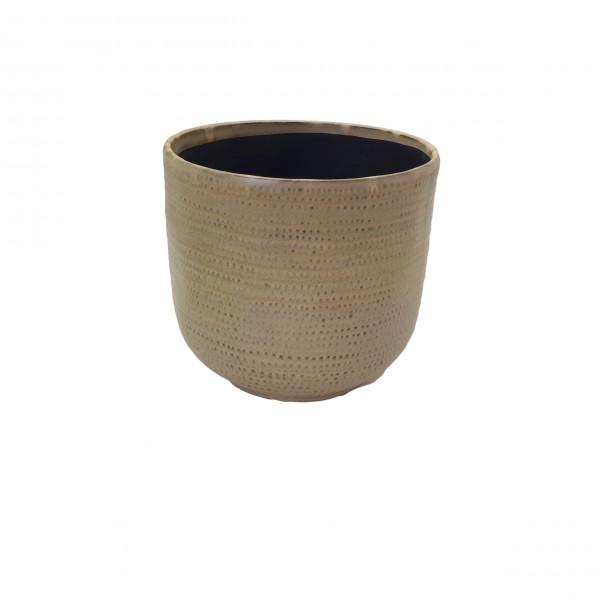 Ceramic Vase Alezio Round Rustique Ochre D18H17