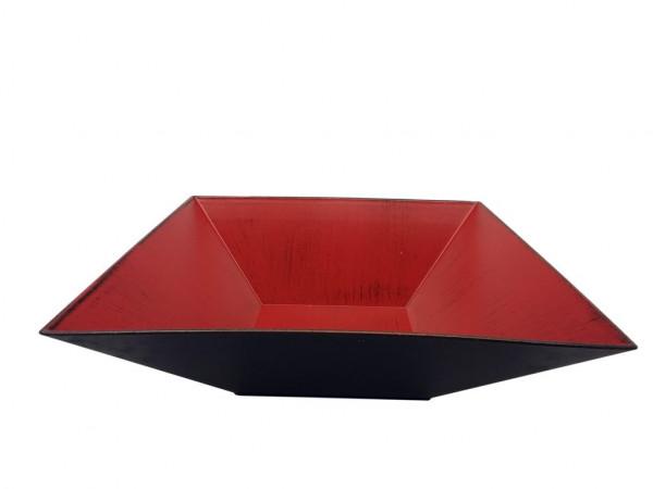 Melamine Schale Viereck Matt Rot W/Black L30H7,5