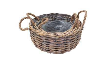 Basket With Rope Handle Round Grey Washed D30H25 S3