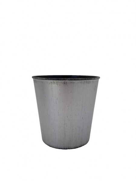 Melamine Pot Rnd.Matt Silver W/Black Wash D15H13