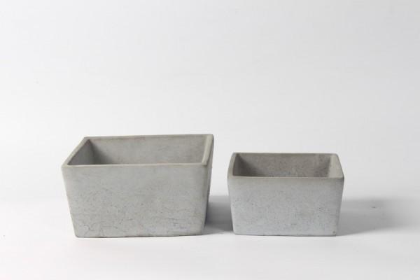 Zement Pflanzer Rovigo Viereck Grau L18W18H9,5 S2