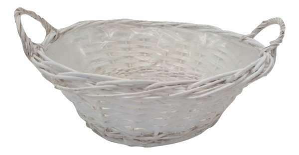 Round Basket With Ear White D34 H11
