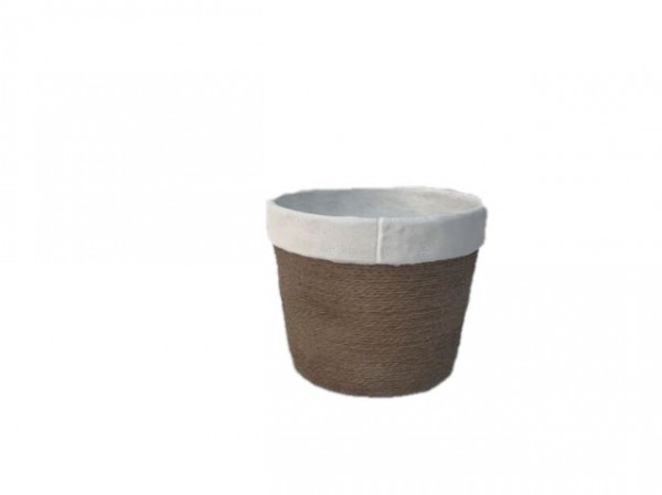 Cement Pot Round Cembra White/Rope D12,5H10,5