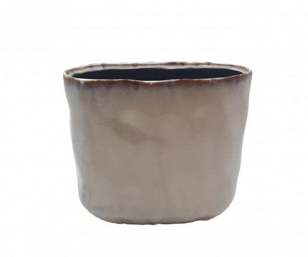Ceramic Vase Lesina Oval Ant.White L27,5W14H25