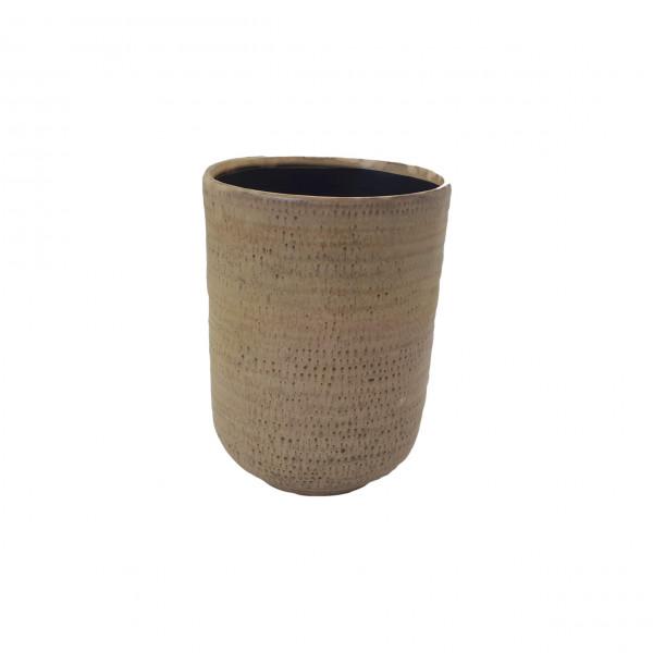 Ceramic Vase Alezio Round Rustique Ochre D14H20