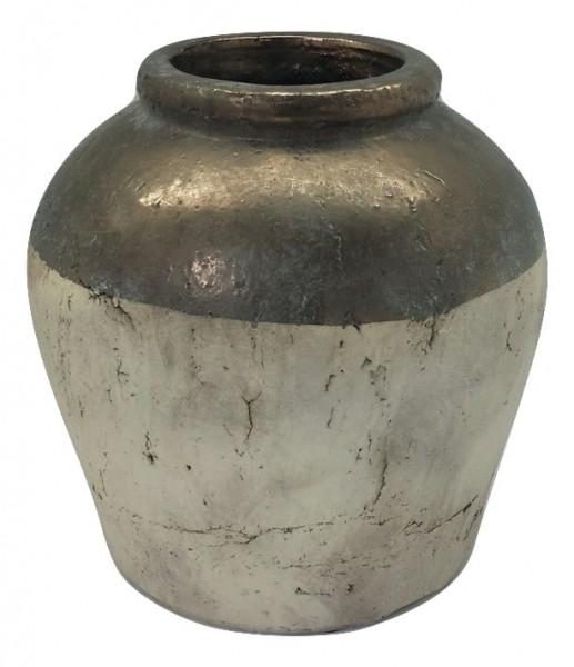 Ceramic Pot Sardara Round Bronze/Cream L37W37H37
