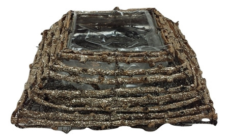 Rattan Plate With Glitter Square Natural L20W20H6 Piece