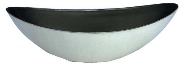 Melamine Planter Oval High Matt White W/Black Wash L39W12H13