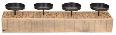 4Metal Candle Holder Wd Based Rect.Natural L45W10H10