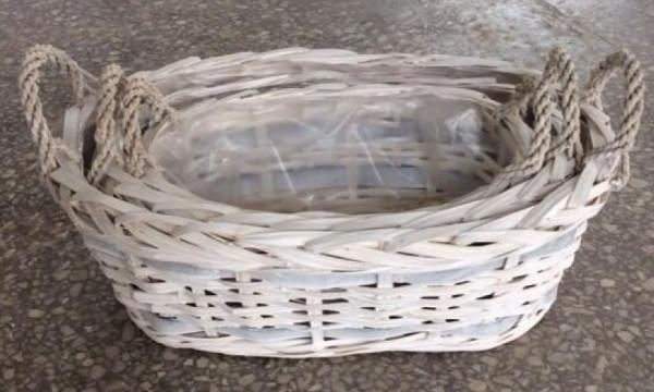 Basket With Rim Oval White Wash L37W20H11 Set 3