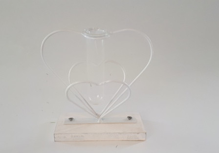 Metal Heart On Wood Base L15W8,5H15