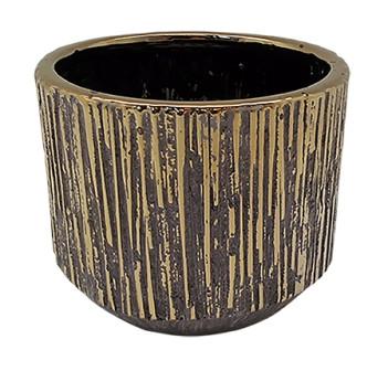 Ceramic Pot Nervi Round Gold D16H13