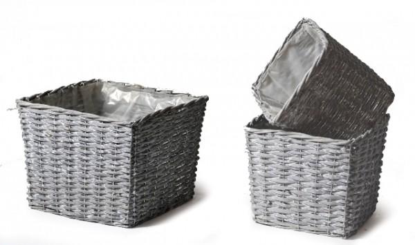 Basket High Square Antracite .D30H23 Set 3