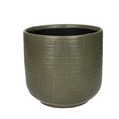 Ceramic Pot Alezio Round Rustique Green D16H15