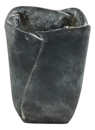 Cem.Vase Ivrea Square. Dark Grey Antique W13H19