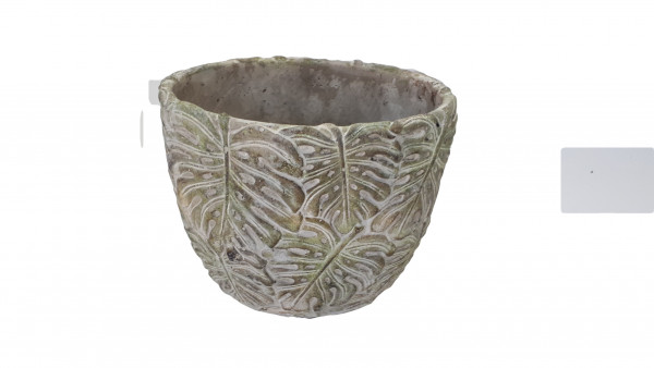 Cement Pot Leaf Green Oval 18W12H15