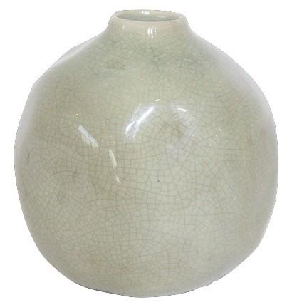 Keramik Flasche Bobbio Licht Grün D12,5H12