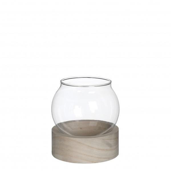 Glas Vase On Holz Fuss H14D13