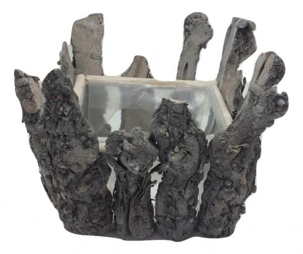 Houten Pot Vierkant Wit Washed L22W22H17