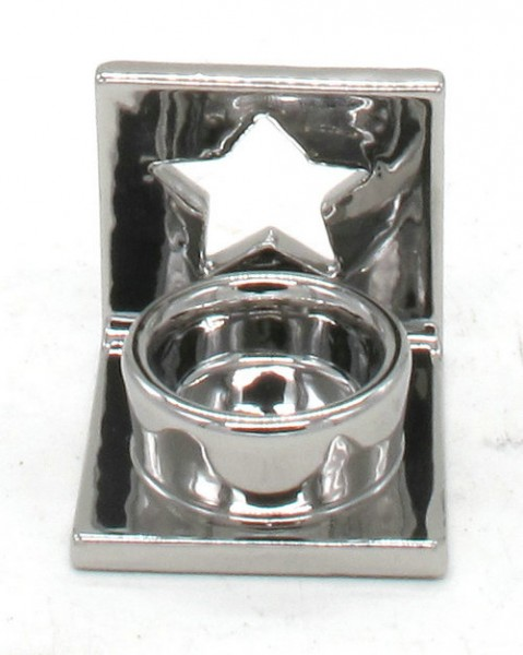 Keramik Teelichtständer Sterne Silber L8W7H7