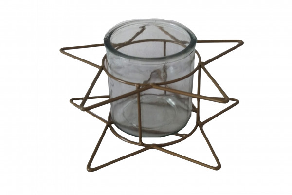 METAL STAR CANDLEHOLDER WITH GLASS GOLD L22W22H8