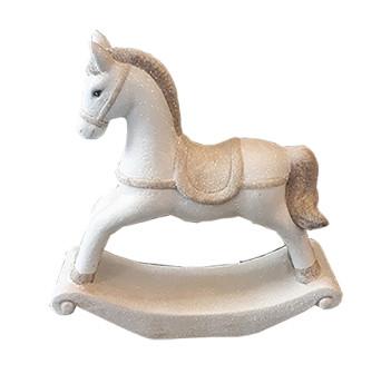 Ceramic Rolling Horse White With Glitter L22W7,5H23