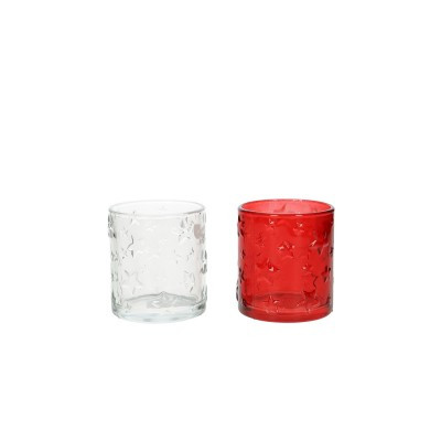 Glass Candle Holder Clear/Red Round D7H8 2Ass