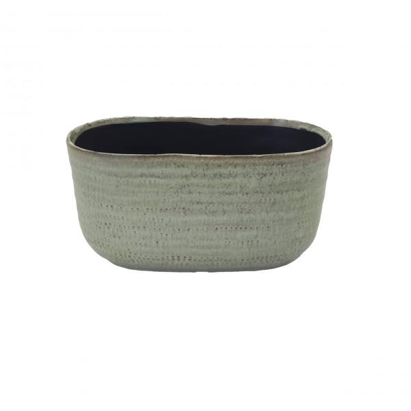 Ceramic Planter Alezio Oval Rustique Pistache L24.5W13.5H13