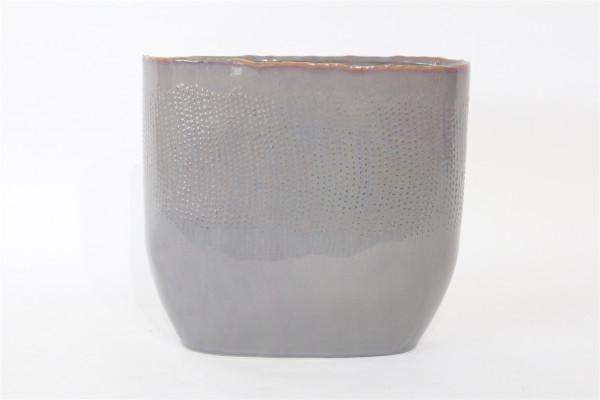 Keramik Vase VIANO Oval Grau/Rosa W14L27H25