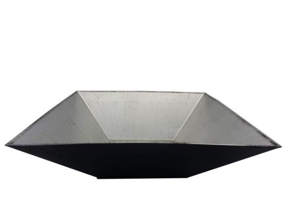Melamine Plate Square Matt Silver W/Black L30H7,5
