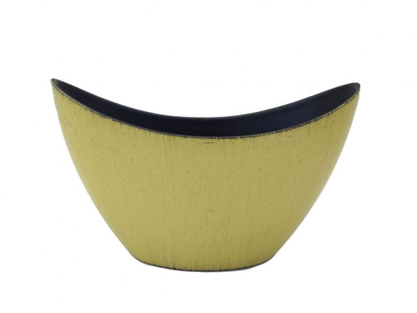 Melamine Boat Oval Matt Yellow W/Black Wash L20W9H12