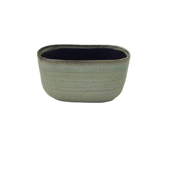 Ceramic Planter Alezio Oval Rustique Pistache L20W10H11