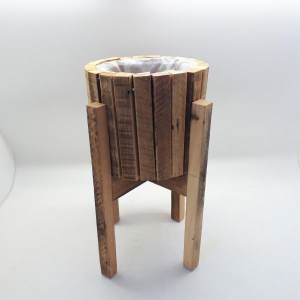 Wooden Pot In Wooden Frame Round D20,5H41