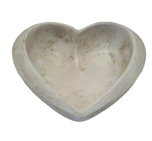 Cement Heart Procida White L18W18H7