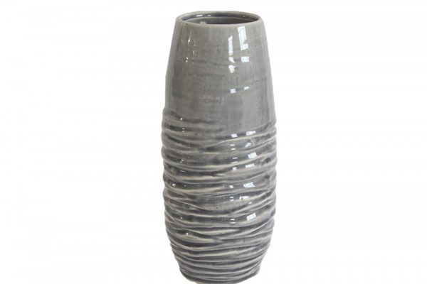 Ceramic Vase Breno Round Grey/White D11.5H28