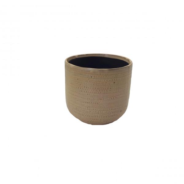 Ceramic Pot Alezio Round Rustique Ochre D16H15