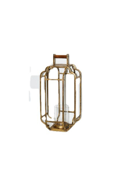 Metal Lantern With Handle With Glass L23W23H48