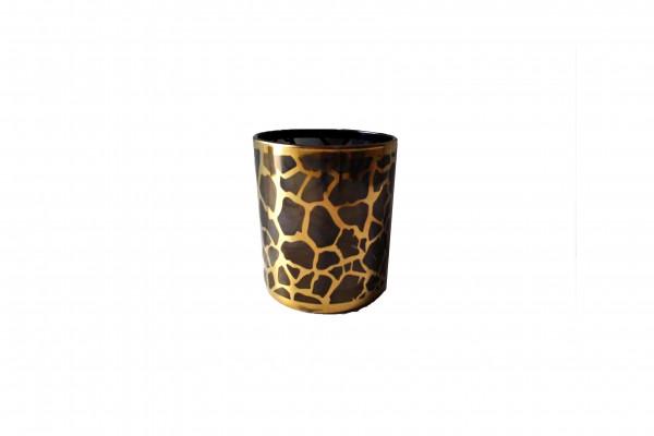 GLASS TEALIGHTHOLDER ROUND BLACK/GOLD D6H7.5