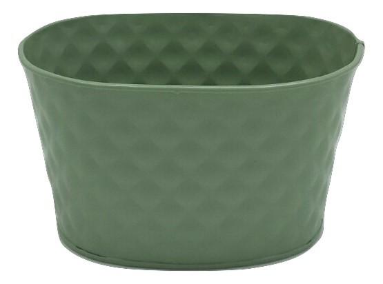 Zink Planter Ovaal Groen D20H15