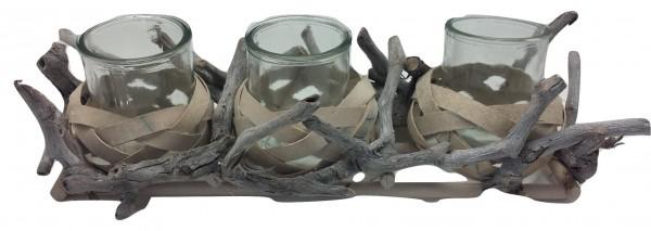 Holz Kerzenständer ,3 Gläsern Weiss Antik L40W15H8