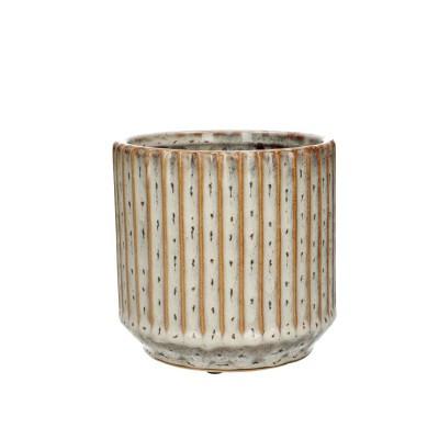 Ceramic.Pot Trino D14*13.5cm.Ocher