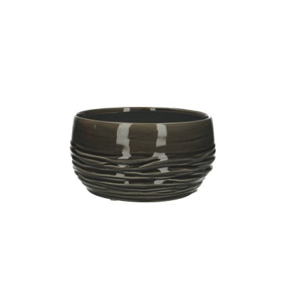Ceramic Planter Breno Round Black/White D20H11