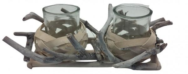 Holz Kerzenständer , 2 Gläsern Weiss Antik L28W15H8