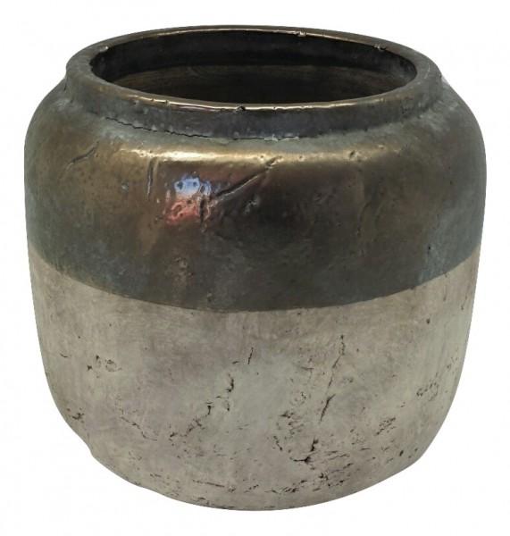 Keramik Vase Sardara Rund Bronze/Creme L20W20H17