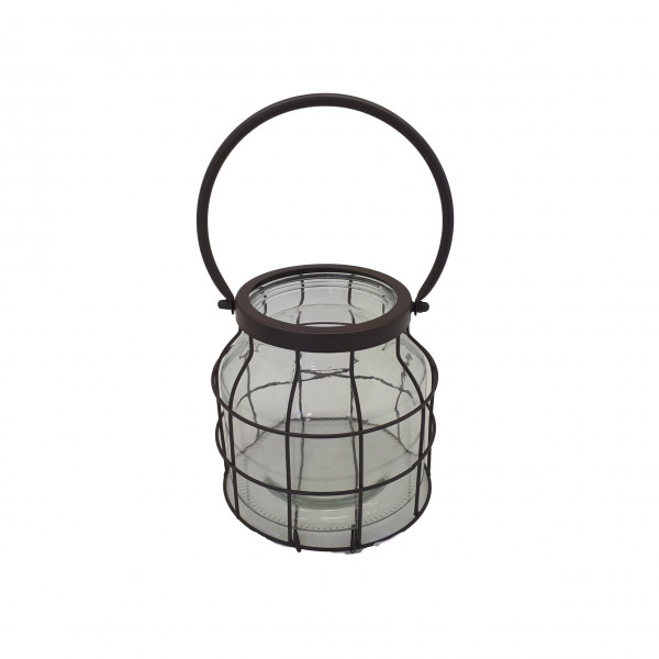 Metal Lantern With Handle Round Rustic D18H17